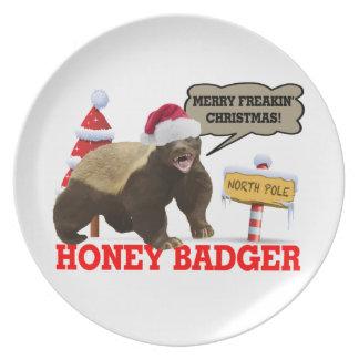 Honey Badger Merry Freakin' Christmas Melamine Plate