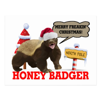 Honey Badger Merry Freakin' Christmas Postcard