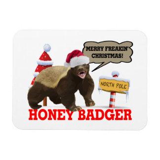 Honey Badger Merry Freakin' Christmas Rectangular Photo Magnet