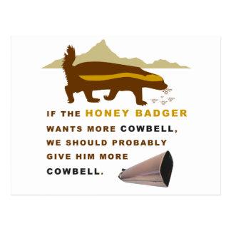 Honey Badger More Cowbell Postcard