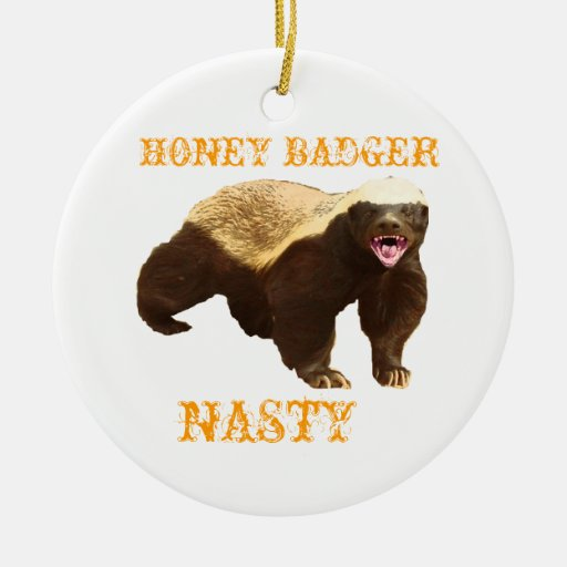 Honey Badger Double-Sided Ceramic Round Christmas Ornament