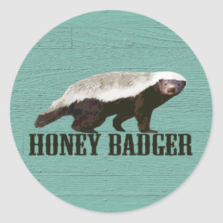 Honey Badger Profile View Classic Round Sticker