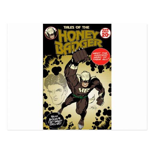 Honey badger retro postcard