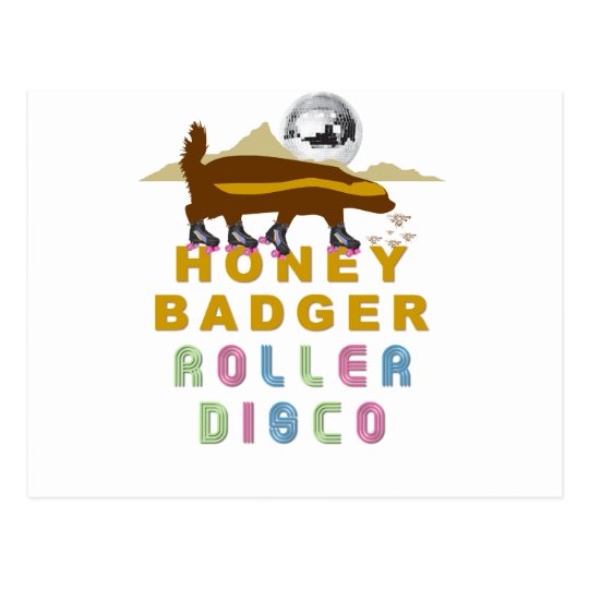 honey badger roller disco postcard