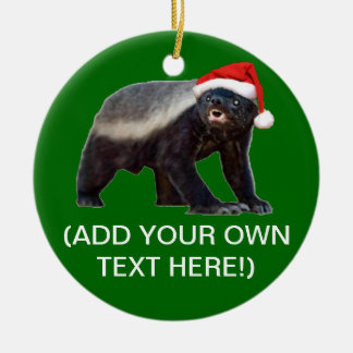 Honey Badger Santa Hat Christmas Tree Ornament