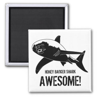 Honey Badger Shark Awesome! 2 Inch Square Magnet