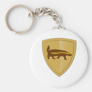 Honey Badger Shield & Crest Basic Round Button Keychain