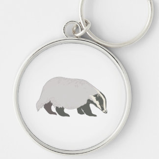 honey badger Silver-Colored round keychain