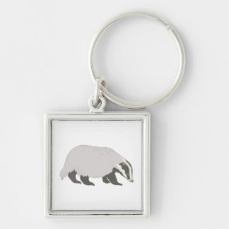 honey badger Silver-Colored square keychain