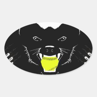 Honey Badger Softball Oval Sticker