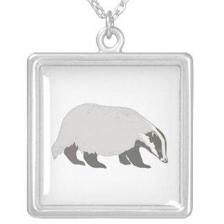 honey badger square pendant necklace