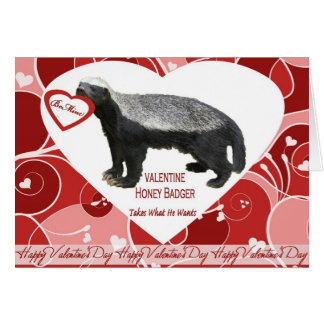 Honey Badger Valentine's Day Card