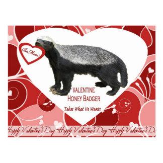 Honey Badger Valentine's Day Postcards