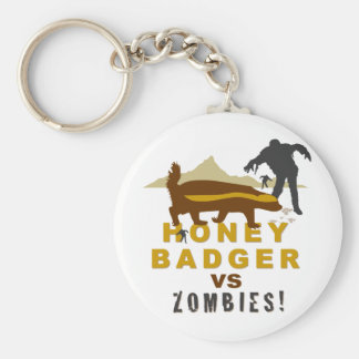honey badger vs zombies basic round button keychain