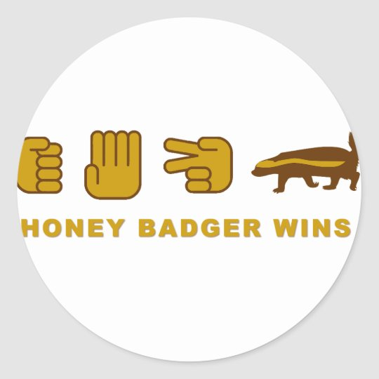 honey badger wins classic round sticker
