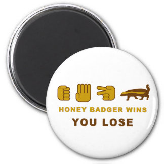 Honey Badger Wins - You Lose 2 Inch Round Magnet