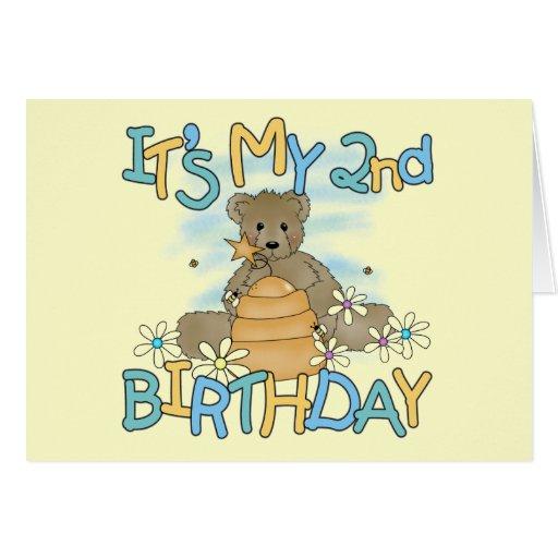 Honey Bear 2nd Birthday T-shirts and Gifts Greeting Card