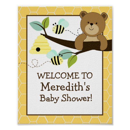 Honey Bear and Bee 8x10 Sign