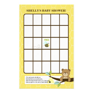 Honey Bear and Bee Baby Shower Bingo Game Stationery