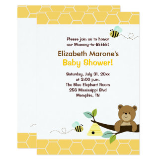 Honey Bear and Bee Baby Shower Invitation 4x6
