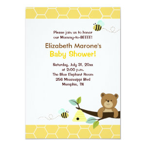 Honey Bear And Bee Baby Shower Invitation 4x6 4.5