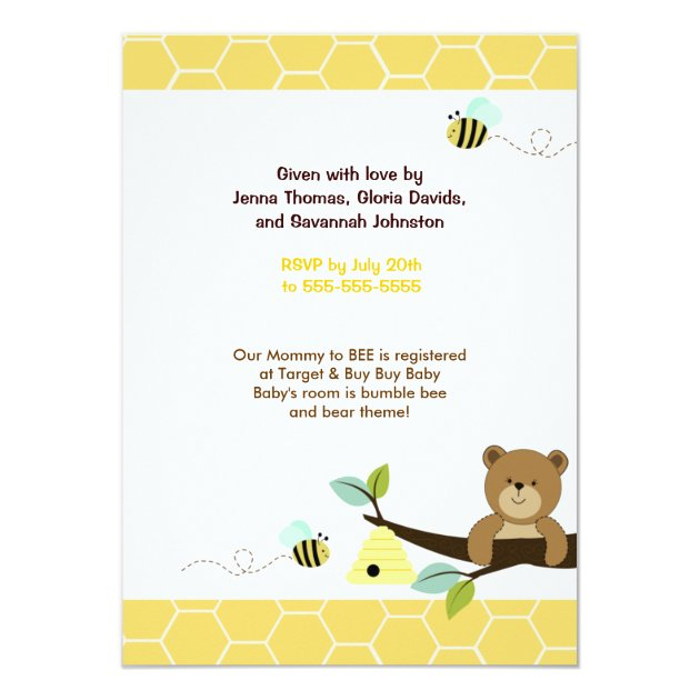 Honey Bear and Bee Baby Shower Invitation 4x6 (back side)