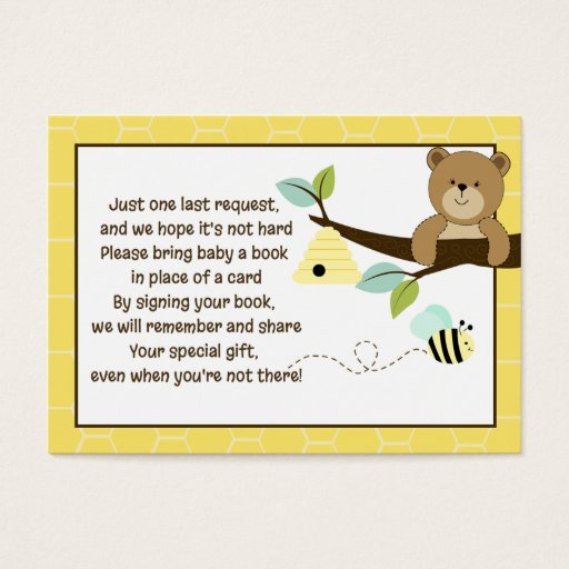 Honey Bear and Bee Book Request Cards