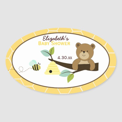 Honey Bear and Bee Custom Oval Favor Sticker