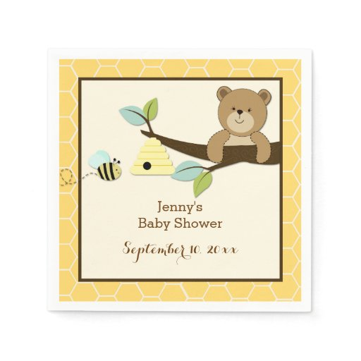 Honey Bear and Bee Customized Napkins