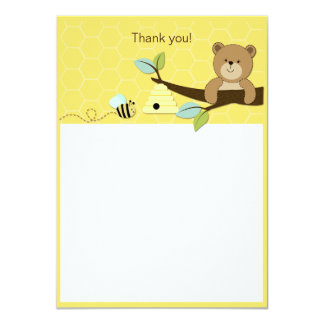 Honey Bear and Bee Flat Thank you Card