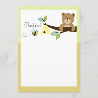 Honey Bear and Bee Flat Thank You notes