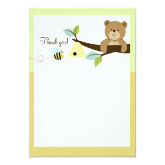 Honey Bear and Bee Flat Thank You notes 5x7 Paper Invitation Card