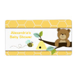 Honey Bear and Bee Large Water Bottle Sticker Personalized Shipping Label
