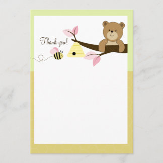 Honey Bear and Bee (Pink) Flat Thank You notes