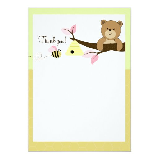 Honey Bear and Bee (Pink) Flat Thank You notes Card