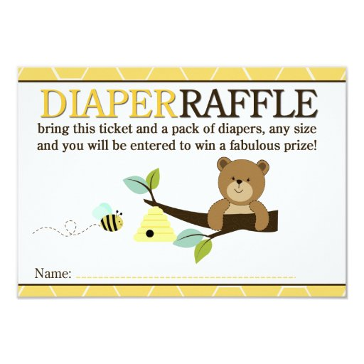 Honey Bear and Bee Shower Diaper Raffle Card