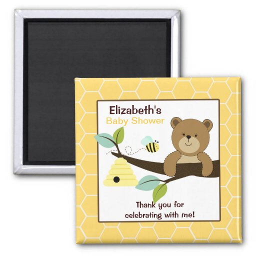 Honey Bear and Bee Square Favor Magnet