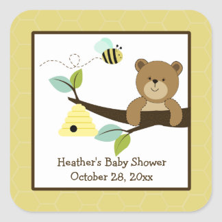 Honey Bear and Bee Square Favor Stickers (6 Large)