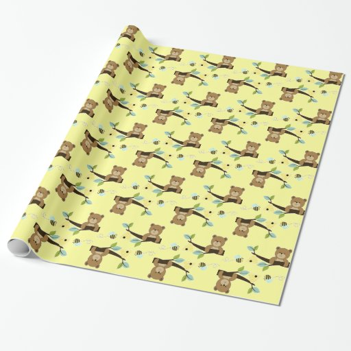 Honey Bear and Bee Wrapping Paper