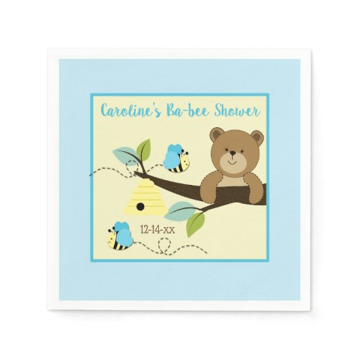 Honey Bear and Blue Bumble Bee Custom Napkins