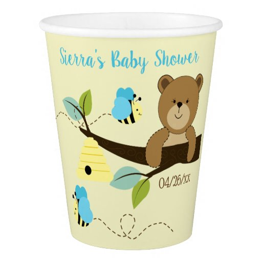 Honey Bear and Blue Bumble Bee Party Paper Cups