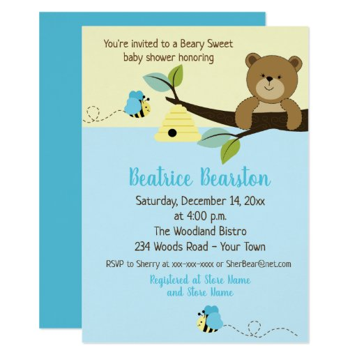 Honey Bear and Boy Bumble Bee Baby Shower Invite