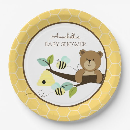 Honey Bear and Bumble Bee Baby Shower Plate