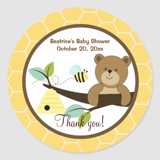 Honey Bear and Bumble Bee Round Favor Sticker