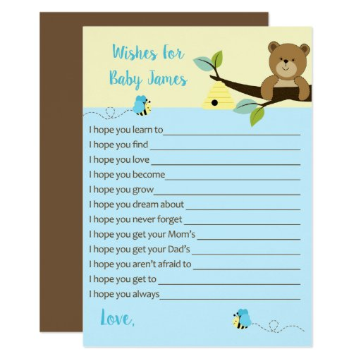 Honey Bear and Bumble Bee Wishes for Baby (Blue) Card