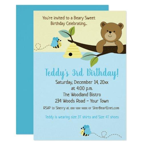 Honey Bear Bumble Bee Blue Boy Birthday invite