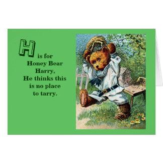 Honey Bear Harry - Letter H - Vintage Teddy Bear Card