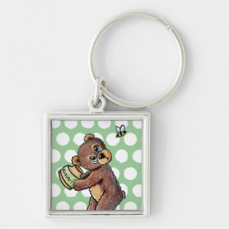 Honey Bear Silver-Colored Square Keychain