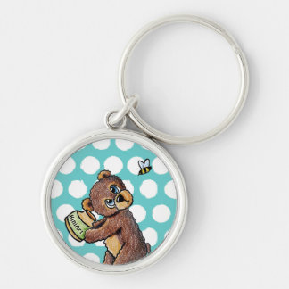 Honey Bear Silver-Colored Round Keychain