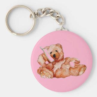Honey Bear Talking on Phone Teddy Bear Pink Purple Basic Round Button Keychain